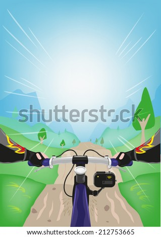 Extreme Biker Going Downhill Point of View. Clip art Illustration - stock vector