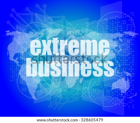 extreme business words on digital touch screen vector illustration - stock vector