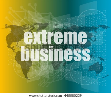 extreme business words on digital touch screen vector quotation marks with thin line speech bubble. concept of citation, info, testimonials, notice, textbox. flat style - stock vector