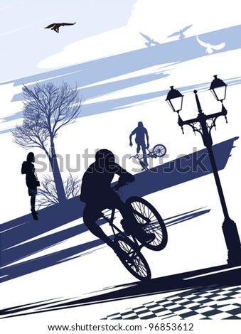 Extreme cyclist doing tricks on the square - stock vector