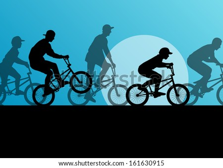 Extreme cyclist young active sport silhouettes vector background illustration - stock vector