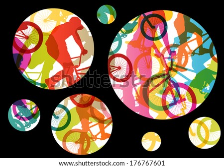Extreme cyclists bicycle riders active children sport silhouettes vector abstract background illustration - stock vector