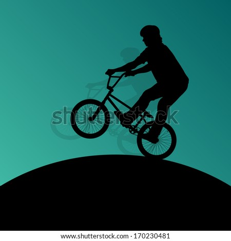 Extreme cyclists bicycle riders active children sport silhouettes vector background illustration