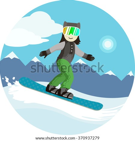 extreme descent from the mountain on a snowboard