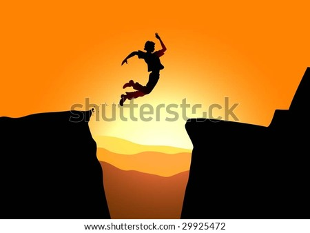 Extreme jump in mountains