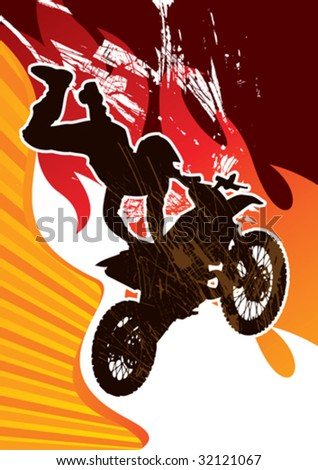 Extreme motor cycling poster. Vector illustration. - stock vector