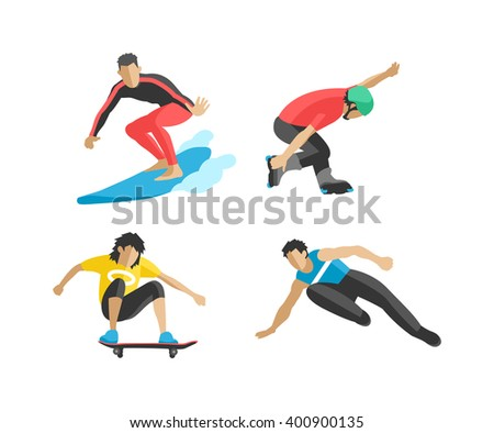 Extreme sport athletes silhouettes and extreme athletes silhouettes activity. Energy extreme sport silhouettes parkour skateboard. Vector drawing jumping and climbing men extreme athletes silhouettes. - stock vector