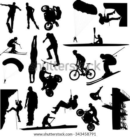 extreme sport collection - vector - stock vector