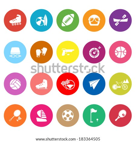 Extreme sport flat icons on white background, stock vector - stock vector