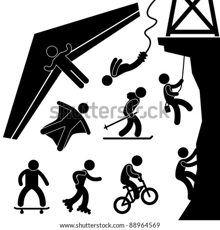 Extreme Sport Hang Glider Bungee Jump Stock Vector 88964569 ...