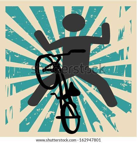 extreme sport over grunge background vector illustration - stock vector