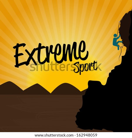 extreme sport over sunset background vector illustration - stock vector