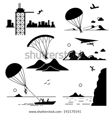 Extreme Sports - Base Jumping, Parachuting, Paragliding, Hang Gliding, Parasailing, Cliff Jump - Stick Figure Pictogram Icons Cliparts - stock vector