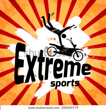 Extreme sports poster with male silhouette on motorbike vector illustration. - stock vector