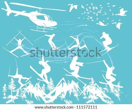 extreme sports skier - stock vector
