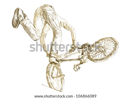 extreme tricks on the BMX bike, hand drawing converted to vector - stock vector