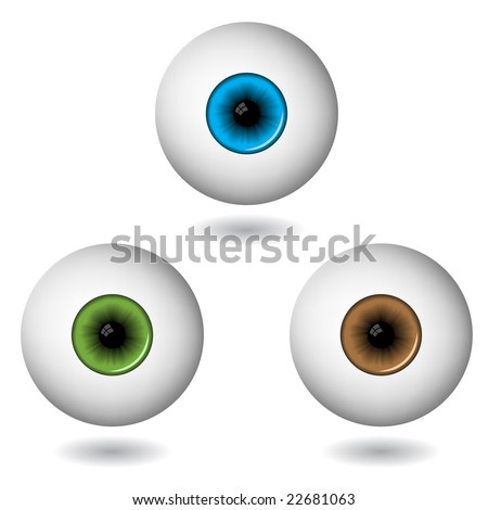 eye balls in three main colours isolated on white - stock vector