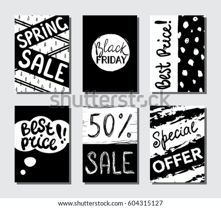 Eye catching sale black and white hand drawn banners for shopping social media posters