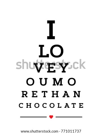 Eye Chart Snellen Wall Word Typography Art Poster Vector Design For I Love You More Than
