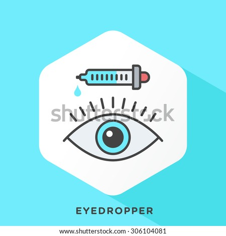 Eye drop icon with dark grey outline and offset flat colors. Modern style minimalistic vector illustration for eye examination, visual acuity, eye chart . - stock vector