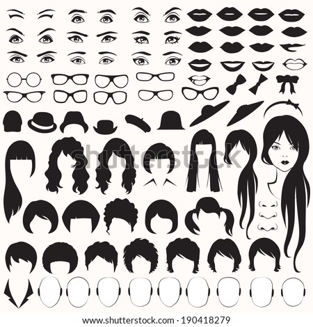 eye, glasses, hat, lips and hair, vector woman face parts, head character - stock vector