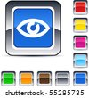 Eye glossy square web buttons. - stock vector