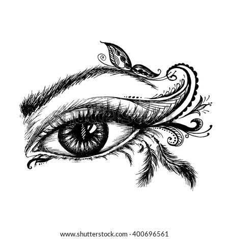 Eye hand drawn  with make up, vector illustration on white background - stock vector