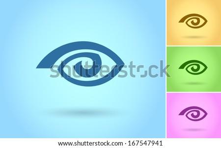Eye icon, Flat style, vector - stock vector