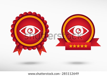 Eye icon stylish quality guarantee badges. Colorful Promotional Labels