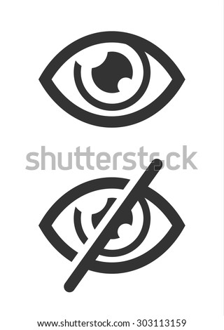 Eye icons. Prohibition forbidden symbols. - stock vector