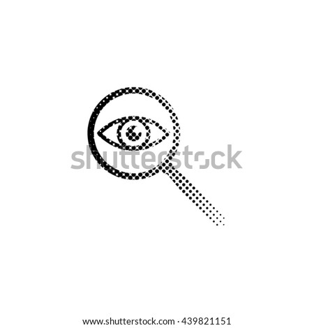 eye in magnification - black vector icon;  halftone illustration - stock vector
