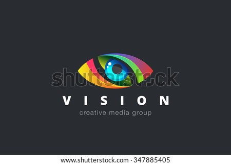 Eye Logo design vector template. Colorful media icon. Creative Vision Logotype concept. - stock vector