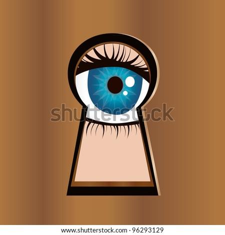 Eye looks through keyhole. - stock vector