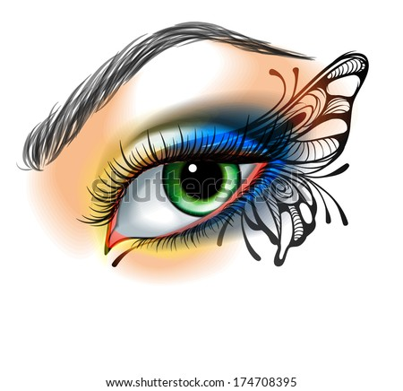 Eye make up with butterfly - stock vector