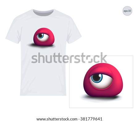 Eye, Monster, 3D. Vector design for printing on T-shirts. Eps10 file comfortable for editing.  - stock vector