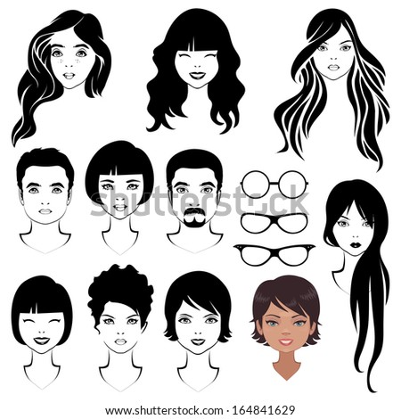 eye mustache lips and hair, face parts, head character - stock vector