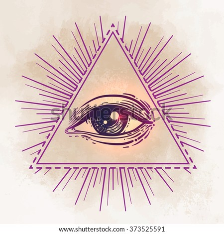 Eye of Providence. Masonic symbol. All seeing eye inside triangle pyramid. New World Order. Hand-drawn alchemy, religion, spirituality, occultism. Isolated vector illustration. Conspiracy theory.  - stock vector