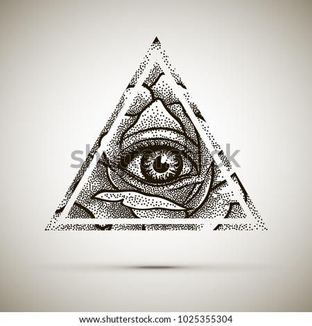Eye Of Providence Masonic Symbol All Seeing Inside Triangle Pyramid With Rose Flower