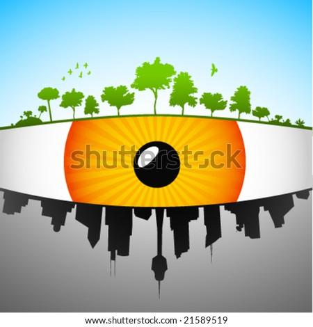 eye on earth - vector illustration - stock vector