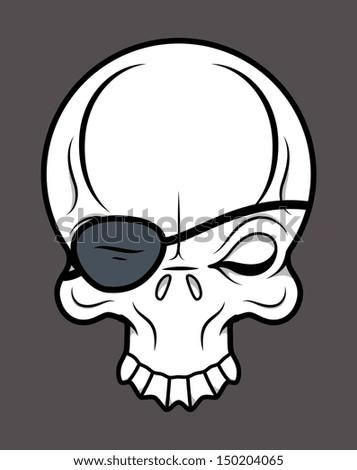 Eye Patch Skull - Vector Cartoon Illustration - stock vector