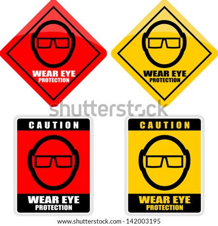 Eye safety warning, sticker - stock vector