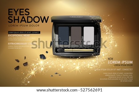 Eye shadow ads, elegant black eye shadow packaging with golden glitter elements, 3D illustration