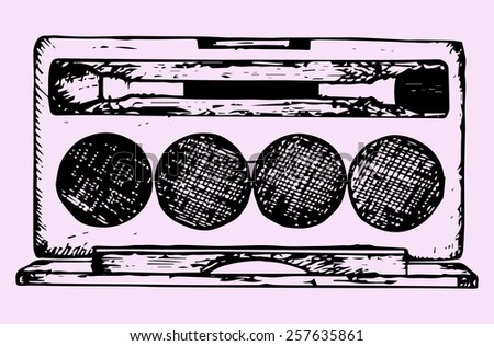 eye shadows with eye shadow brush, makeup, doodle style, hand drawn - stock vector