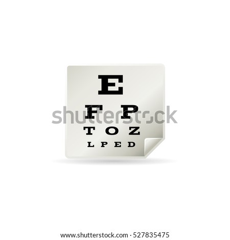 Eye test page icon in color. Letters small tiny