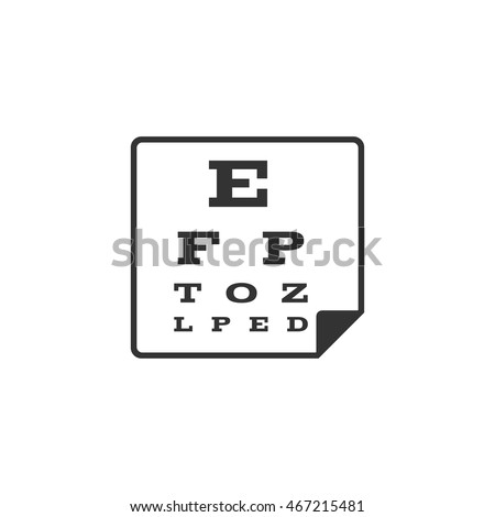 Eye test page icon in single grey color. Letters small tiny