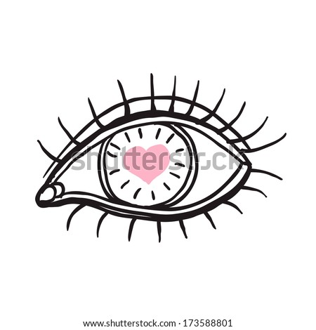 Eye with heart. sketch - stock vector