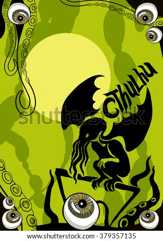 Eyeballs on a green background. Cthulhu: Monsters Halloween silhouette. Vector horror objects. - stock vector