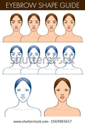 Eyebrow Shape Guide Template Female Blank Stock Vector 1069883657 ...