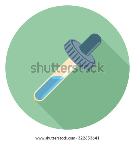 eyedropper flat icon in circle - stock vector