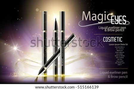 Eyeliner pen ads, cosmetic product template with glitter purple background, 3d illustration